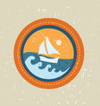 Summer boat badge vector image