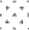 swimmer pattern seamless black vector image vector image