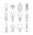symbols light different bulbs mono line vector image vector image