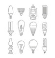 symbols of light different bulbs mono line vector image