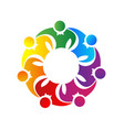 team of people together unity logo symbol vector image
