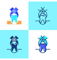tooth extraction icon set in flat and line style vector image vector image