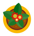 top view flower pot icon flat style vector image