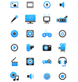 Turquoise black multimedia icons set vector image vector image