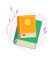 two closed books with colorful covers and paper vector image vector image