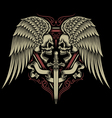 Two Faced Skull With Wings and Sword vector image vector image