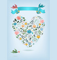 valentine card with floral heart and birds vector image