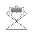 valentines day message heart love envelope open vector image vector image