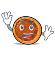 waving baket pie character cartoon vector image vector image