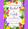 wedding invitation with spring flower frame border vector image