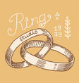 wedding ring in a gift box label women jewelry vector image vector image