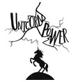 with lightning and unicorn lettering text vector image
