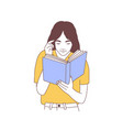 adorable young woman reading book or preparing vector image