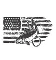 american flag with salmon fish design element vector image vector image