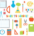 Back to school icons set - funny flat design vector image