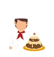bakery chef with cake vector image vector image