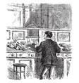 banker sorting money at counter vintage vector image