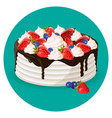 birthday cake with fresh blueberries strawberries vector image