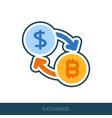 bitcoin to dollar exchange icon vector image vector image