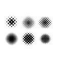 black circle halftone set vector image