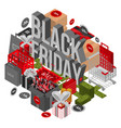 black friday shop concept background isometric vector image