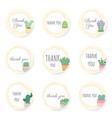 cactus and succulent flat style with golden vector image