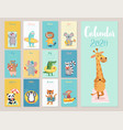 calendar 2020 cute monthly with beach vector image vector image