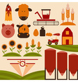 cartoon flat design icons of agriculture vector image vector image