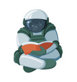 cartoon floating astronaut reading a book in space vector image vector image