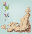 colorful kites flying in blue sky and clouds vector image