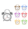 colorful retro alarm clock vector image vector image