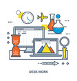 concept of desk work workplace and office work vector image