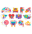 digital marketing icons set vector image vector image