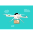 Drone delivery flying in sky shipping parcel box vector image vector image