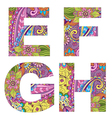English alphabet with colorful vintage pattern vector image