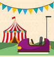 entertainment bumper car tent carnival fun fair vector image vector image