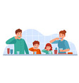 family brush teeth parents and children brushing vector image vector image