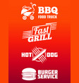 fast food labels collection - bbq fast food and vector image vector image