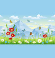 floral background with butterflies and moutains vector image