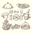 foods on dishes monochrome pictures for design vector image vector image