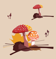 forest poisonous mushrooms fly agarics vector image vector image