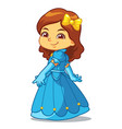 girl dressed as princess in blue dress vector image vector image
