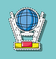 global connection technology patch sticker vector image
