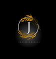 golden leaf letter j logo design with gold leafs