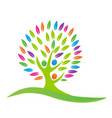 green tree peace and unity logo vector image