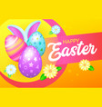 Happy easter banner with eggs and rabbit