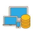 hosting technology base center icon vector image