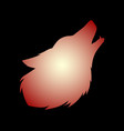 howling red wolf vector image vector image