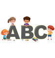 kids with english alphabet vector image vector image