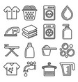 laundry and housework icons set line style vector image